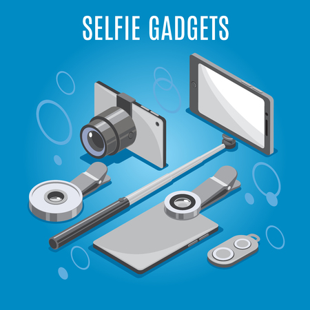 Isometric selfie gadgets including smart phone with monopod, camera, lenses, remote control, blue background, vector illustration