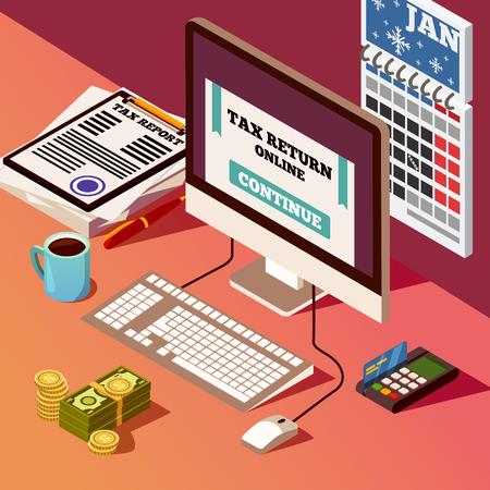 Boekhouding en belastingen isometrische samenstelling met belastingaangifte online programma op PC-het schermcreditcard en bankbiljetten vectorillustratie