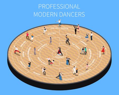 파란색 배경 벡터 일러스트 레이 션에 마루 플랫폼 아이소 메트릭 순서도에 전문 현대 댄서