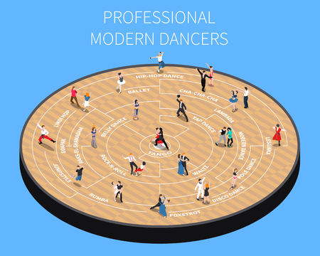 Professional modern dancers on parquet platform isometric flowchart on blue background vector illustration