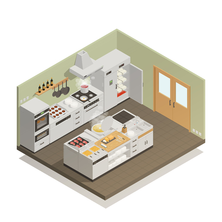 Big restaurant kitchen with professional cooking equipment isometric composition on white background 3d vector illustration Illustration