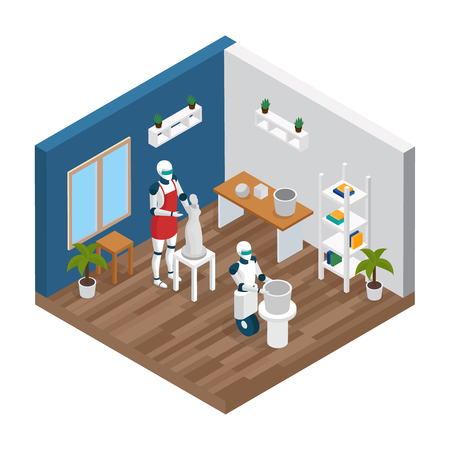 Artificial intelligence ai jobs isometric composition with 2 creative humanoid robots sculptors working in studio vector illustration