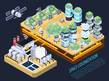 Space colonization terraforming isometric composition with images of plants and technical facilities with editable text description vector illustration