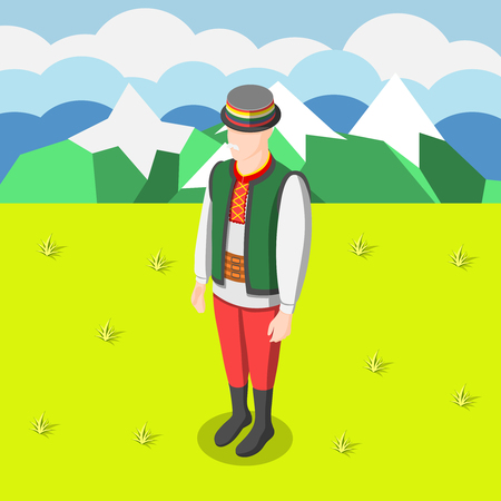 Multinational culture isometric background with man figurine dressed in traditional  clothe of his country vector illustration Illusztráció