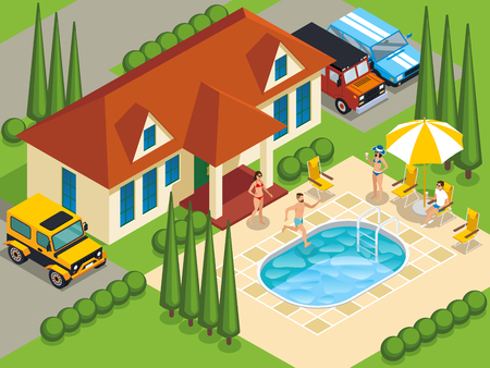 Rich people with friends during leisure on villa with swimming pool and landscape design isometric vector illustration Stock Vector - 99098120