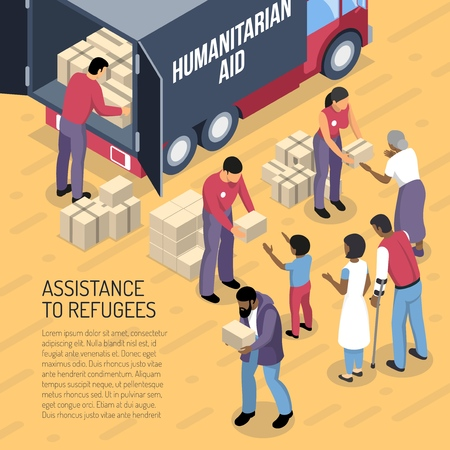 Humanitarian aid van and volunteers helping refugees 3d isometric vector illustration