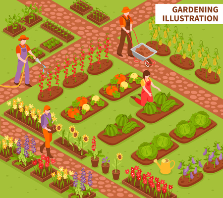 Gardening isometric composition with fruit flowers and vegetables symbols vector illustration