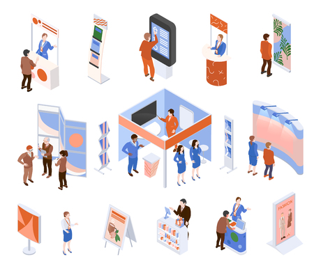 Isometric expo trade exhibition set with people looking at promotional stands isolated on white background 3d vector illustration