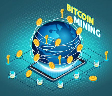 Crypto currency mining isometric composition on turquoise textured background with globe, tablet computer, block chain, vector illustration