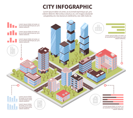 Modern city business center offices district and residential area buildings infrastructure isometric infographic poster vector illustration