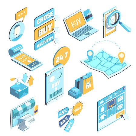 E-commerce isometric set in blue yellow colors with mobile devices, internet purchases, delivery isolated vector illustration Illustration