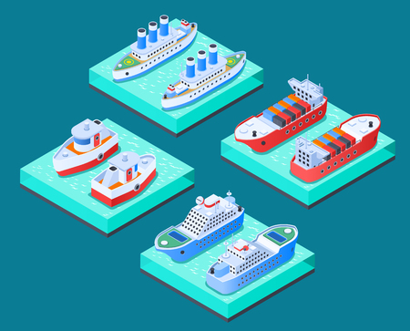 Ships isometric design concept with cargo vessels, cruise crafts, yachts, tow boats, turquoise background isolated vector illustration