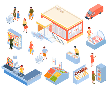 People doing shopping in supermarket colorful isometric icons set isolated on white background 3d vector illustration Ilustração