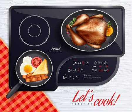 Colored hob surfaces cooking poster with let s start to cook headline and different dishes on the stove vector illustration Standard-Bild - 99168074