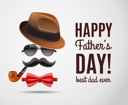 Dad day composition of decorative congratulatory text and realistic fathers accessories with shadows on blank background vector illustration Иллюстрация