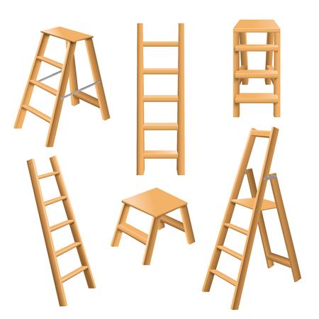 Das Vielzwecklehnen und stehende klassische hölzerne realistische Sammlung 3d der Leitern mit Trittschemel lokalisierten Vektorillustration