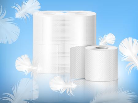 Papier toilette texturé blanc, rouleau unique et emballage en polyéthylène, composition réaliste, fond bleu avec illustration vectorielle de plumes
