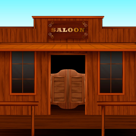 Entrance doors facade realistic 3d composition with vintage american building with sign board and wooden doors vector illustration