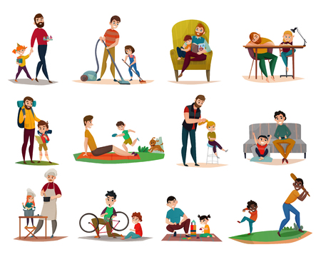 Fatherhood raising children, reading, cooking, sport activity and games, housework, set of icons isolated vector illustration