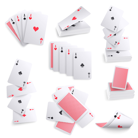 Playing cards realistic collection of aces hearts spade spreads layout sets deck back pattern isolated vector illustration  Ilustração