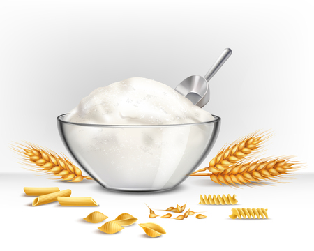 Bowl of wheat flour with grain and cereal symbols realistic vector illustration