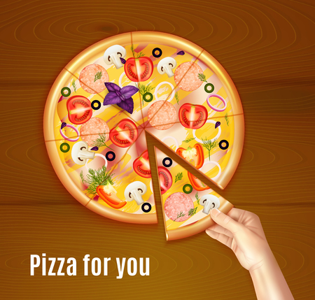 Baked pizza realistic composition on wooden background with hand holding piece of dish vector illustration