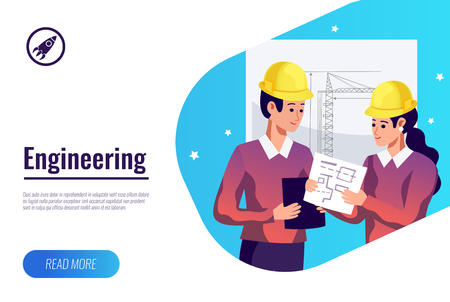 Engineering flat poster with two young builders in helmets against hand drawn construction crane background vector illustration Ilustracja