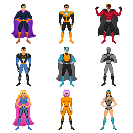Cartoon male and female characters dressed in superhero costume with cape mantle and mask colored set isolated vector illustration Ilustração