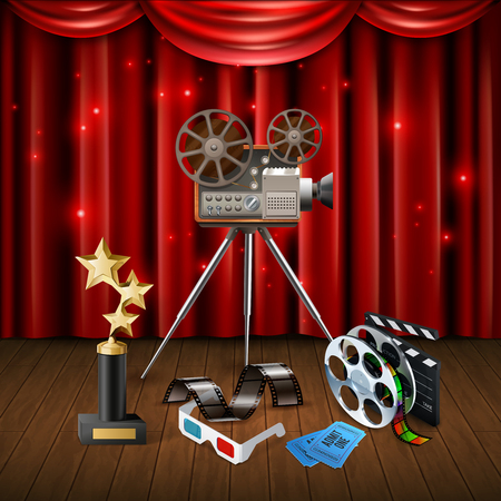 Realistic cinema background with trophy 3d glasses camcorder clapboard and sparkling red curtain vector illustration