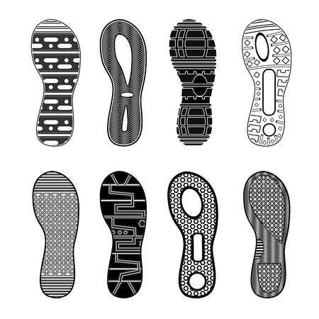 Monochrome collection of various highly detailed black sport shoes footprints on white background isolated vector illustration Illustration