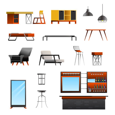 Loft interior elements gradient flat constructor set with isolated images of designer furniture and bar counter vector illustration