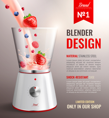 Realistic household kitchen appliances poster with brand number one blender design limited edition only in our shop headline vector illustration