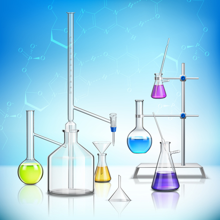 Laboratory glassware composition with chemistry and biology symbols realistic  vector illustration
