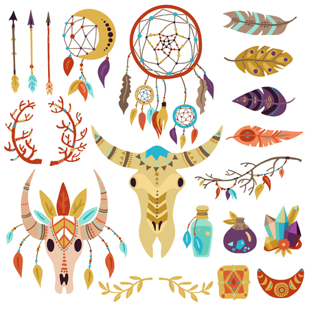 Boho symbols decorative elements collection with dream catcher feathers twigs arrows crystals buffalo head isolated vector illustration