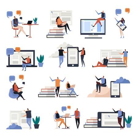 Icônes plates de l'éducation en ligne avec des personnes pendant les communications, connaissances sur les écrans des appareils électroniques, illustration vectorielle isolée