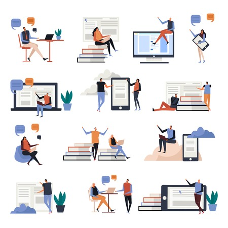 Iconos planos de educación en línea con personas durante las comunicaciones, conocimiento en pantallas de dispositivos electrónicos, ilustración vectorial aislado
