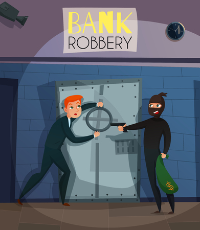 Bank robbery with people crime and breaking symbols flat vector illustration