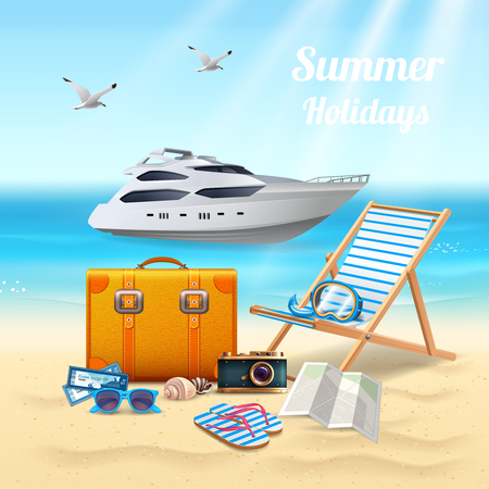 Summer holidays realistic beautiful composition with expensive boat sunbed and stuff for the beach vector illustration Ilustrace