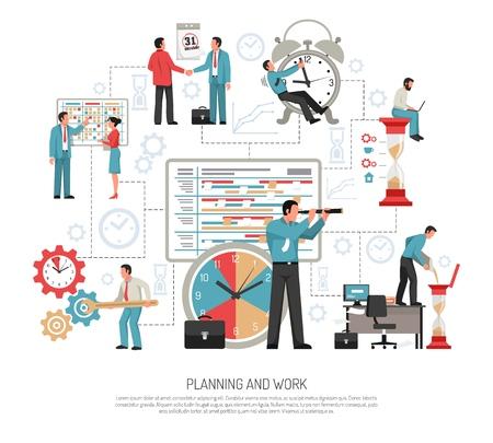 Planning schedule and work at office flat design concept on white background vector illustration Illusztráció