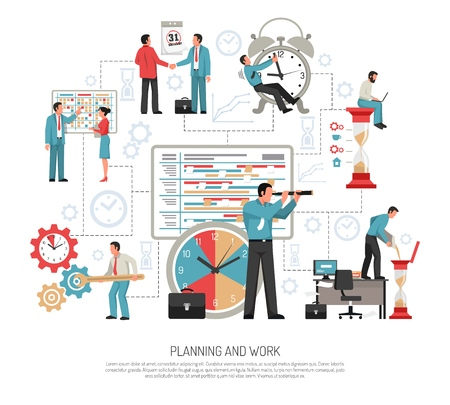 Planning schedule and work at office flat design concept on white background vector illustration Illustration