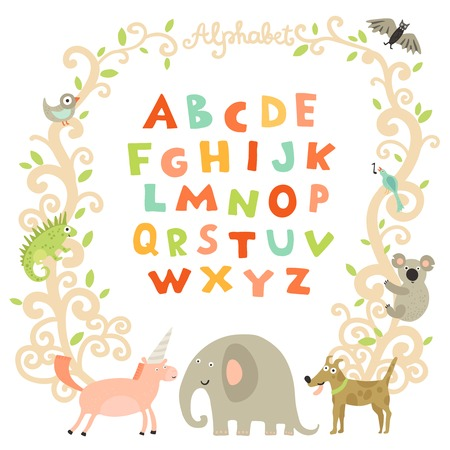 Complete children alphabet preschool abc book page with attractive colorful font and funny animals frame vector illustration