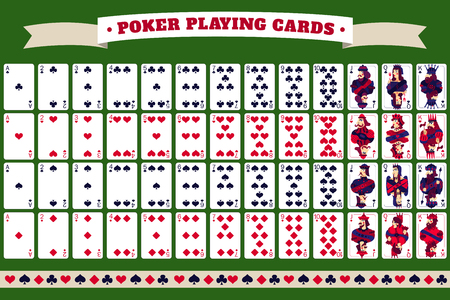 Full deck of poker playing cards with header tape and isolated cards on green background  vector illustration