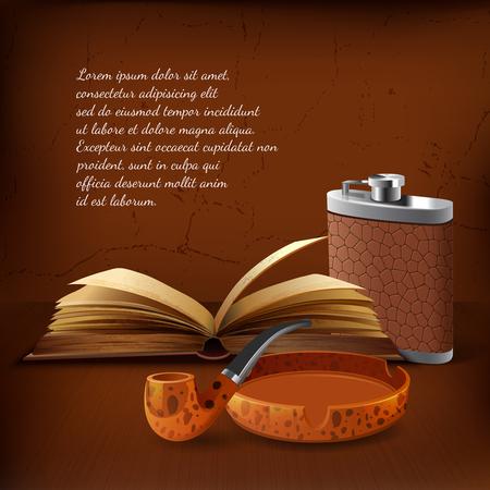 Dark colored tobacco realistic background with scene smoking pipe when person reading books vector illustration Illustration