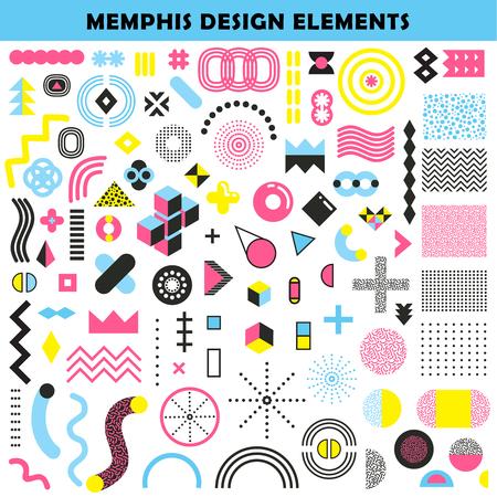 Memphis Design Formen Formen und Farben Winkel Grafik Muster wie dekorative Elemente dekorative Elemente abstrakte Vektor-Illustration Standard-Bild - 99168121