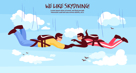 Skydiving adventures horizontal banner with couple in free fall holding hands romantic experience above clouds vector illustration