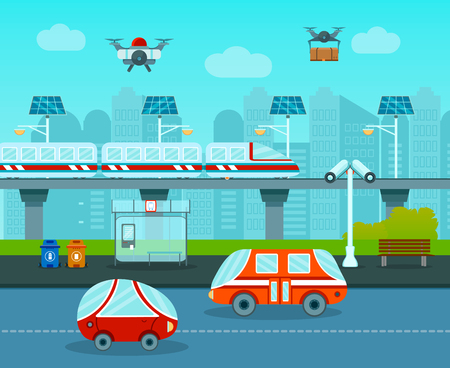 Smart city composition with cartoon style images of futuristic cars monorail and drones in urban landscape vector illustration