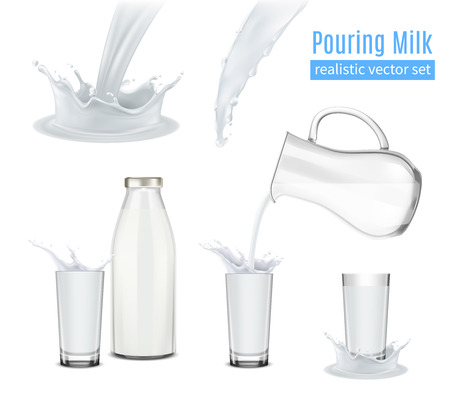 Pouring milk with splashes realistic icons set with glass jug bottle and beakers isolated vector illustration