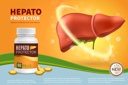 Hepatoprotector colorful realistic composition with natural pills in plastic medical jar for liver health 3d vector illustration