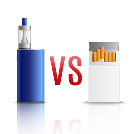 Cigarettes vs vaping realistic composition of white blank cigarette pack and blue atomizer device reflection vector illustration
