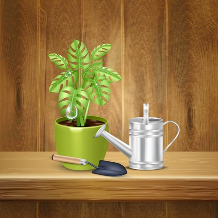 Realistic herb background with decorative plant in flowerpot shovel and watering can on wooden shelf vector illustration